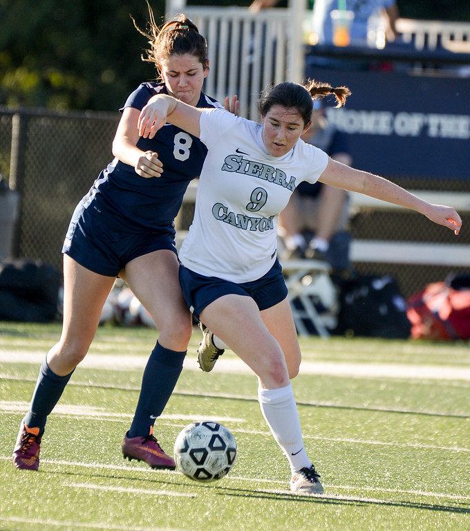 . Viewpoint\'s Isabella Devoto, #8, and tries to get the ball from Sierra Canyon�s Emmi Eisner, #9, during game action at Sierra Canyon Thursday, March 9, 2017.  Sierra Canyon defeated Viewpoint 3-0.    (Photo by David Crane, Los Angeles Daily News/SCNG)
