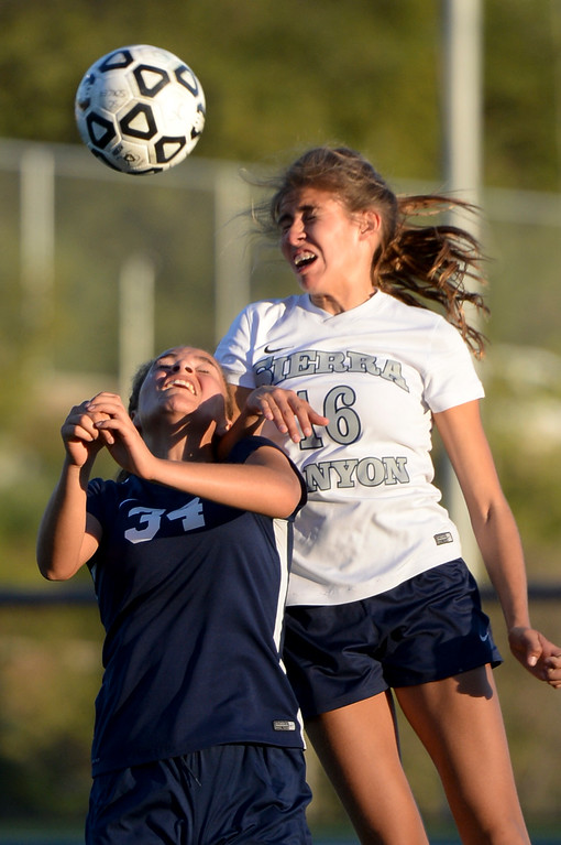 . Sierra Canyon�s Brooke Golik, #16, gets above Viewpoint\'s Sophia Stills, #34, during game action at Sierra Canyon Thursday, March 9, 2017.  Sierra Canyon defeated Viewpoint 3-0.    (Photo by David Crane, Los Angeles Daily News/SCNG)