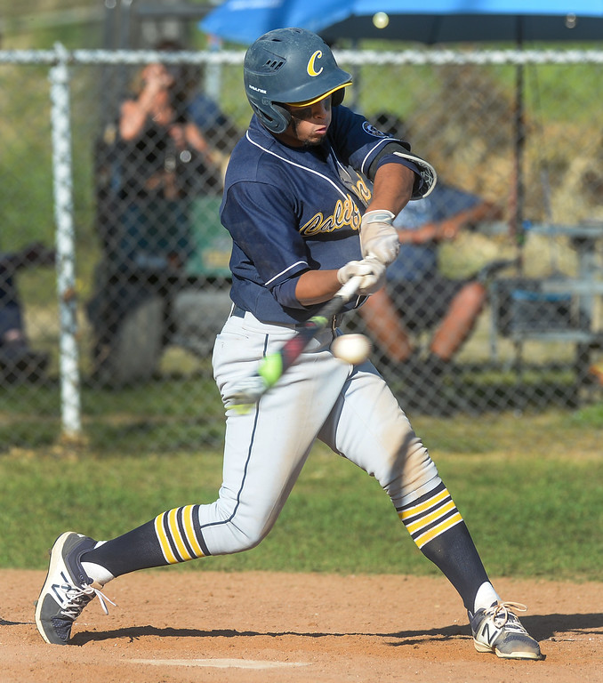 . California\'s Brandon Acosta (10) gets a hit in their Del Rio League game at La Serna High School in Whittier on Wednesday April 5, 2017. (Photo by Keith Durflinger/Whittier Daily News/SCNG)