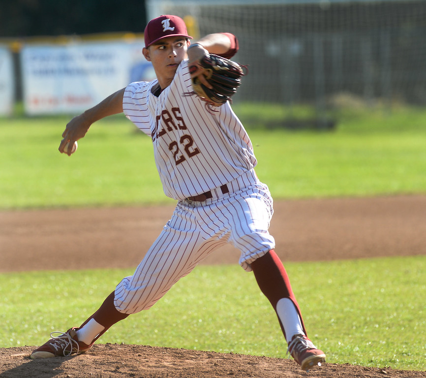 . La Serna pitcher Abraham Carrillo (220 makes a pitch as they play California in their Del Rio League game at La Serna High School in Whittier on Wednesday April 5, 2017. (Photo by Keith Durflinger/Whittier Daily News/SCNG)