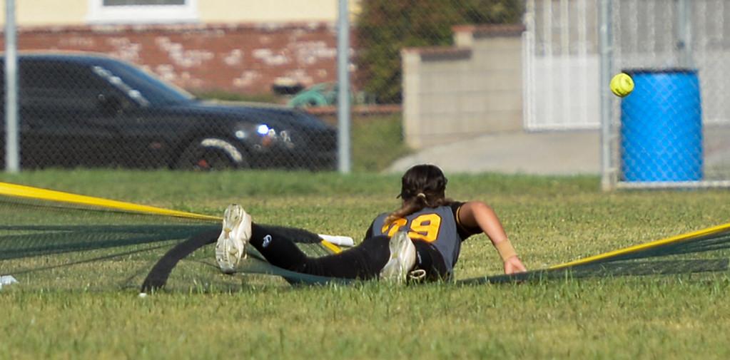 . Santa Fe plays California in their Del Rio League girls softball game at Santa Fe High School in Santa Fe Springs on Thursday April 13, 2017. California defeated Santa Fe 11-8. (Photo by Keith Durflinger/Whittier Daily News/SCNG)