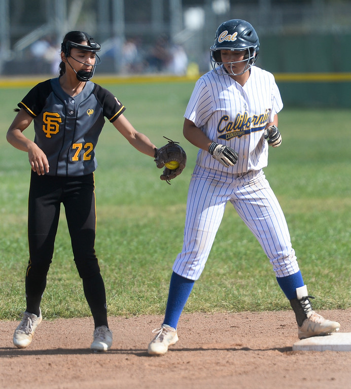 . Santa Fe plays California in their Del Rio League girls softball game at Santa Fe High School in Santa Fe Springs on Thursday April 13, 2017. California defeated Santa Fe 11-8. (Photo by Keith Durflinger/Whittier Daily News/SCNG)