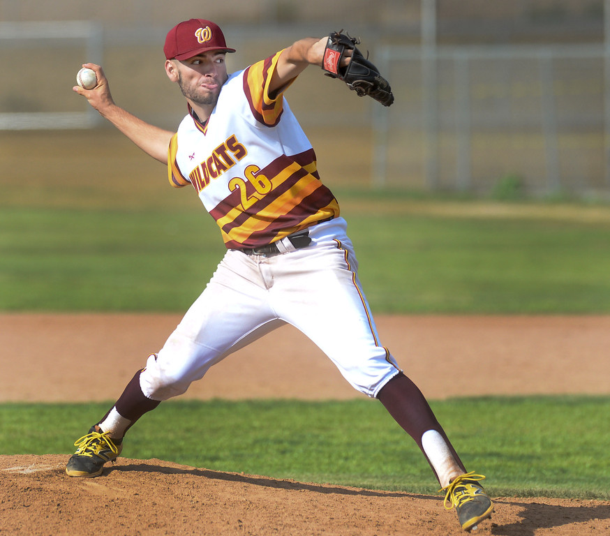 . Wilson pitcher Matt Rodriguez (26) makes a pitch as they play San Dimas in their Valle Vista league baseball game at Wilson High School in Hacienda Heights on Tuesday April 18, 2017. (Photo by Keith Durflinger/Whittier Daily News/SCNG)