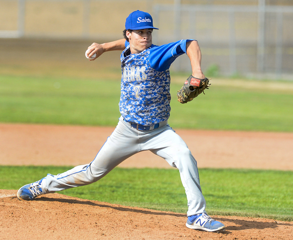 . San Dimas pitcher Lorenzo Llorens (7) makes a pitch in their Valle Vista league baseball game at Wilson High School in Hacienda Heights on Tuesday April 18, 2017. (Photo by Keith Durflinger/Whittier Daily News/SCNG)