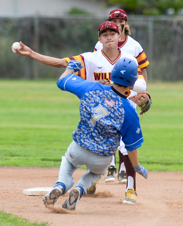 . Wilson shortstop Frank Sanchez (33) forces out San Dimas\' Lorenzo Llorens (7) at second base and then throws to first to complete the double play in their Valle Vista league baseball game at Wilson High School in Hacienda Heights on Tuesday April 18, 2017. (Photo by Keith Durflinger/Whittier Daily News/SCNG)
