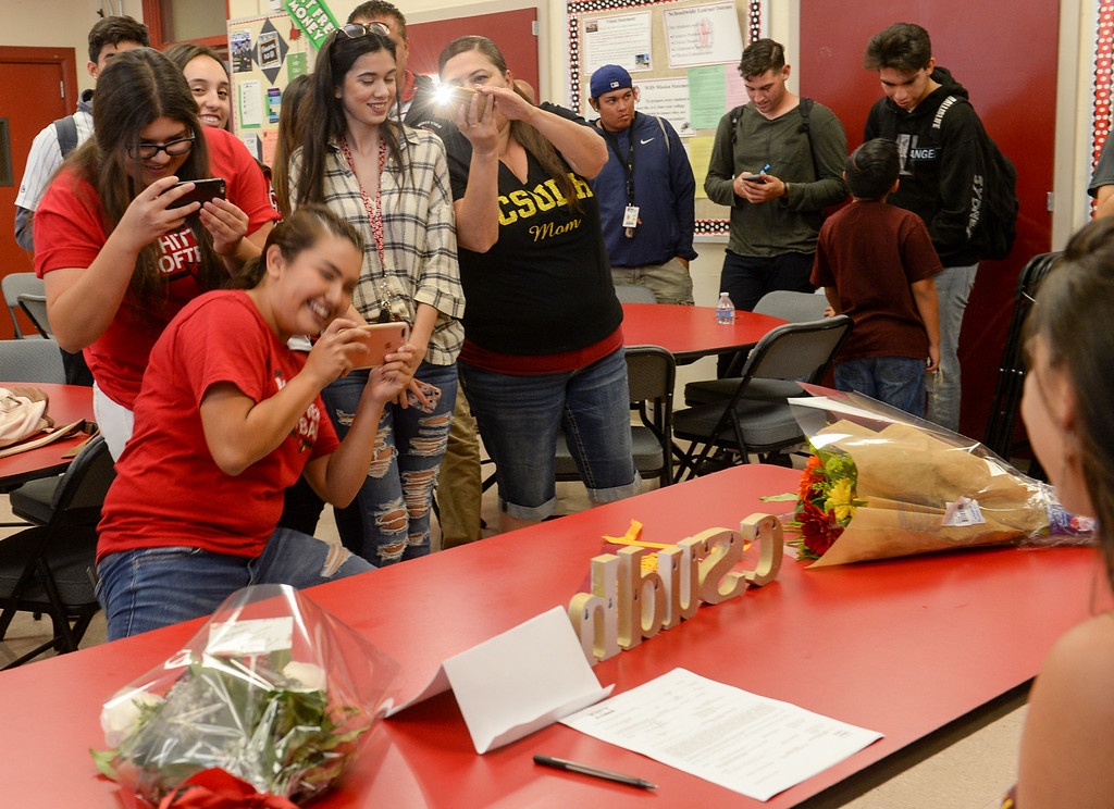 . Softball player Alyssa Olague signs her letter of intent with Cal State Dominguez Hills during a ceremony at Whittier High School in Whittier on Tuesday April 18, 2017. (Photo by Keith Durflinger/Whittier Daily News/SCNG)