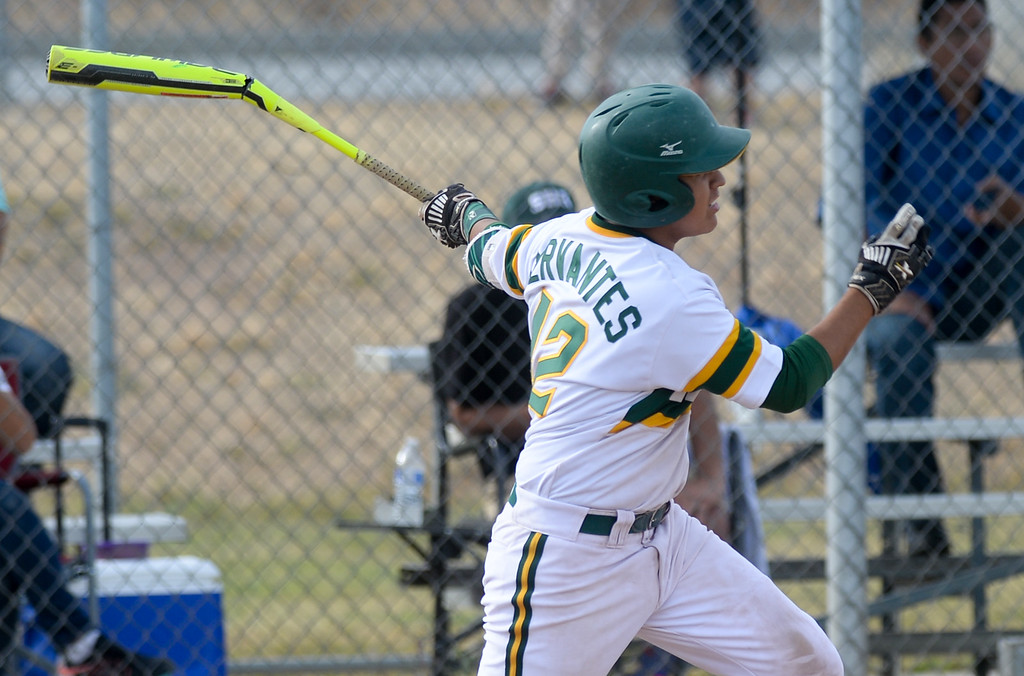. Schurr\'s Justin Cervantes (42) breaks a bat on a hit as they play Alhambra in their Almont League baseball game at Schurr High School in Montebello on Tuesday April 25, 2017. (Photo by Keith Durflinger/Whittier Daily News/SCNG)