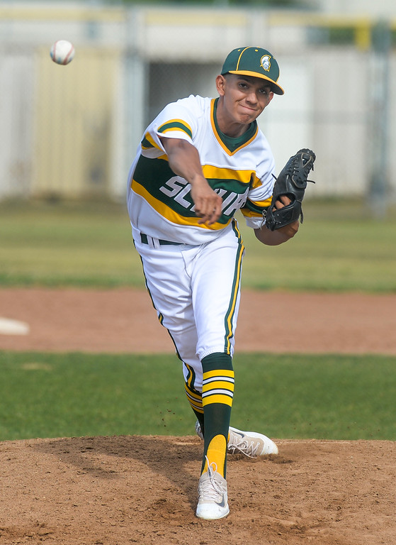 . Schurr pitcher Brian Rios (23) makes a pitch as they play Alhambra in their Almont League baseball game at Schurr High School in Montebello on Tuesday April 25, 2017. (Photo by Keith Durflinger/Whittier Daily News/SCNG)
