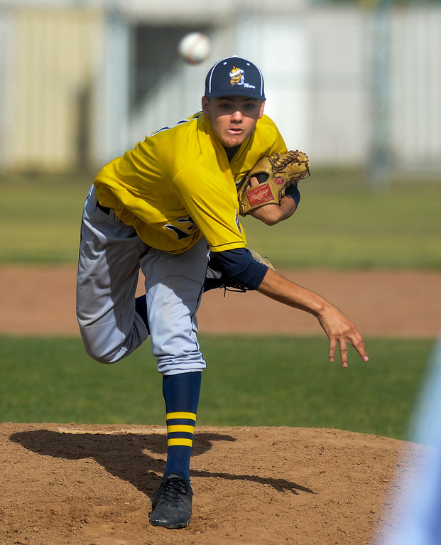 . Alhambra pitcher Benny Olguin (11) makes a pitch in their Almont League baseball game at Schurr High School in Montebello on Tuesday April 25, 2017. (Photo by Keith Durflinger/Whittier Daily News/SCNG)
