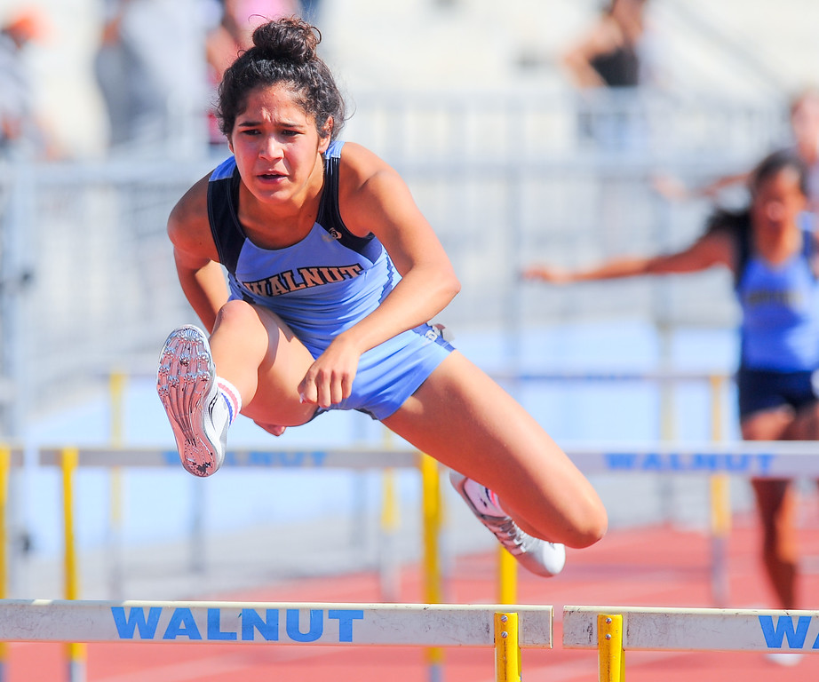 . Maria Avila from Walnut High School finishes first in the boys varsity 100 High Hurdles in the Hacienda League track finals at Walnut High School in Walnut on Thursday May 4, 2017. (Photo by Keith Durflinger/Whittier Daily News/SCNG)