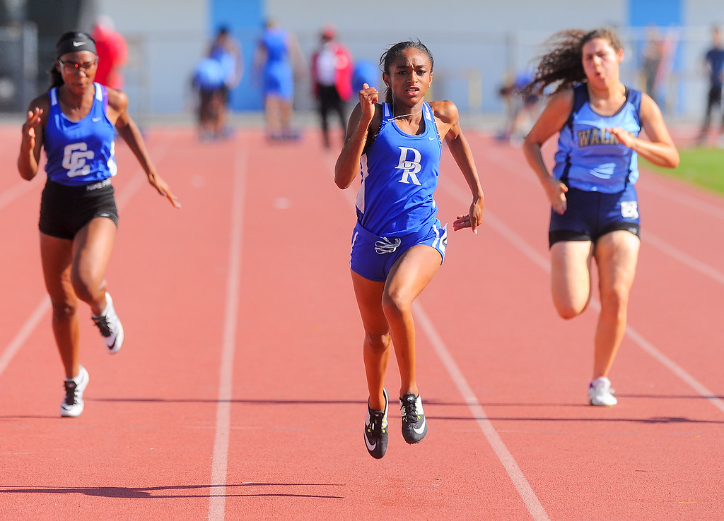 . Diamond Ranch\'s Mahlaya Salter finishes first in the Girls Varsity 100 Meter Dash compete in the Hacienda League track finals at Walnut High School in Walnut on Thursday May 4, 2017. (Photo by Keith Durflinger/Whittier Daily News/SCNG)