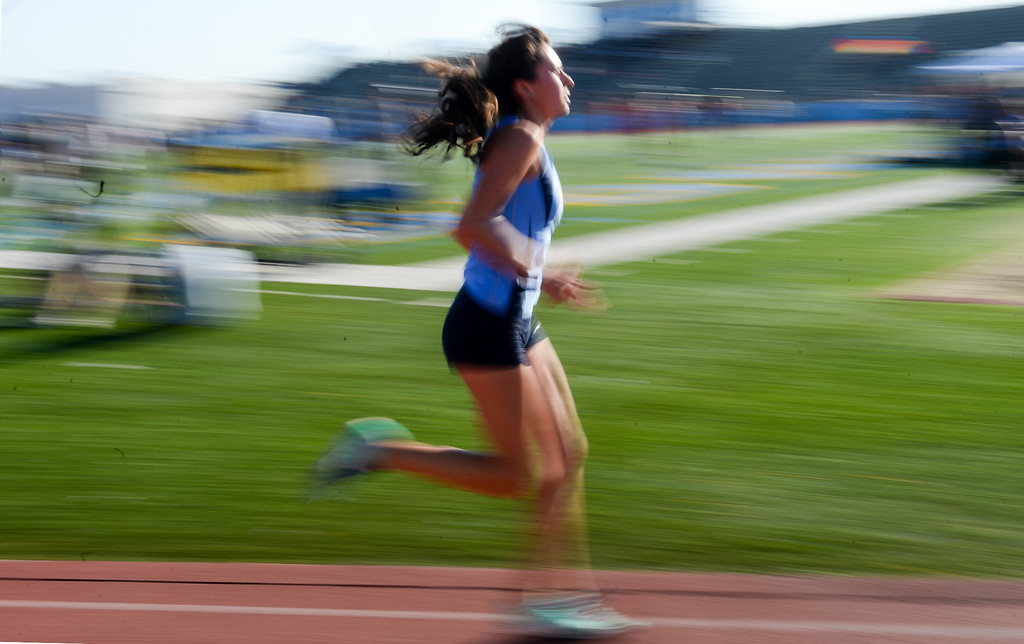 . Walnut\'s Chloe Arriaga finishes first in the Girls Varsity 3200 Meter Run in the Hacienda League track finals at Walnut High School in Walnut on Thursday May 4, 2017. (Photo by Keith Durflinger/Whittier Daily News/SCNG)
