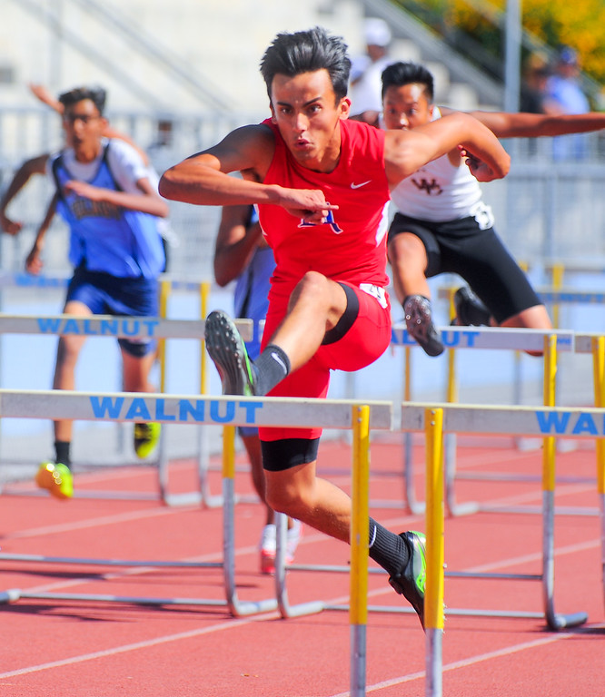 . Alexis Medina from Los Altos High School finishes first in the boys varsity 110 High Hurdles in the Hacienda League track finals at Walnut High School in Walnut on Thursday May 4, 2017. (Photo by Keith Durflinger/Whittier Daily News/SCNG)