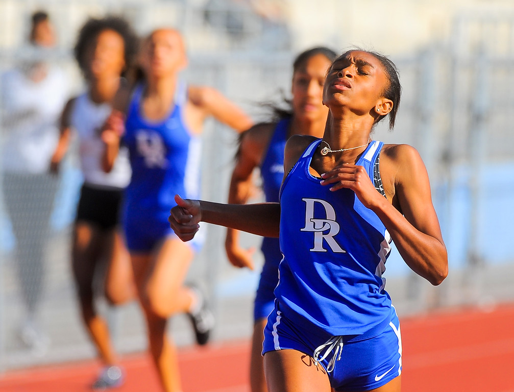 . Diamond Ranch\'s Mahlaya Salter finishes first in the Girls Varsity 200 meter Dash in the Hacienda League track finals at Walnut High School in Walnut on Thursday May 4, 2017. (Photo by Keith Durflinger/Whittier Daily News/SCNG)