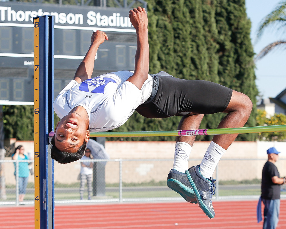 . Anthony Rodriguez clears 5�6� and would eventually clear 5�11� to become the Del Rio League High Jump Champion at the Del Rio League Track Finals Thursday May 4, 2017 at Cal High. (Correspondent photo by Chris Burt/Sports: To purchase these pictures contact the photographer directly clburt@verizon.net )