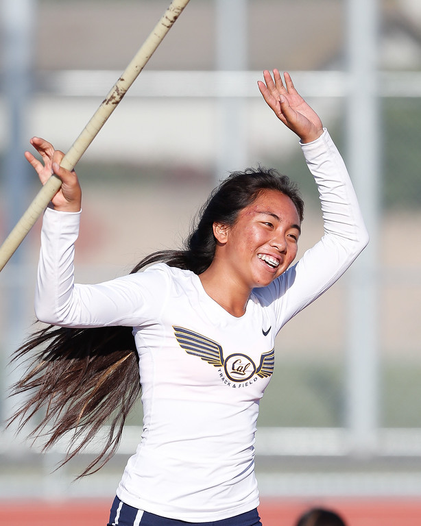 . Cal High pole vaulter, Nicole Cosico, celebrates after clearing 8� for the first time in the Del Rio League Track Finals Thursday May 4, 2017 at Cal High. (Correspondent photo by Chris Burt/Sports: To purchase these pictures contact the photographer directly clburt@verizon.net )