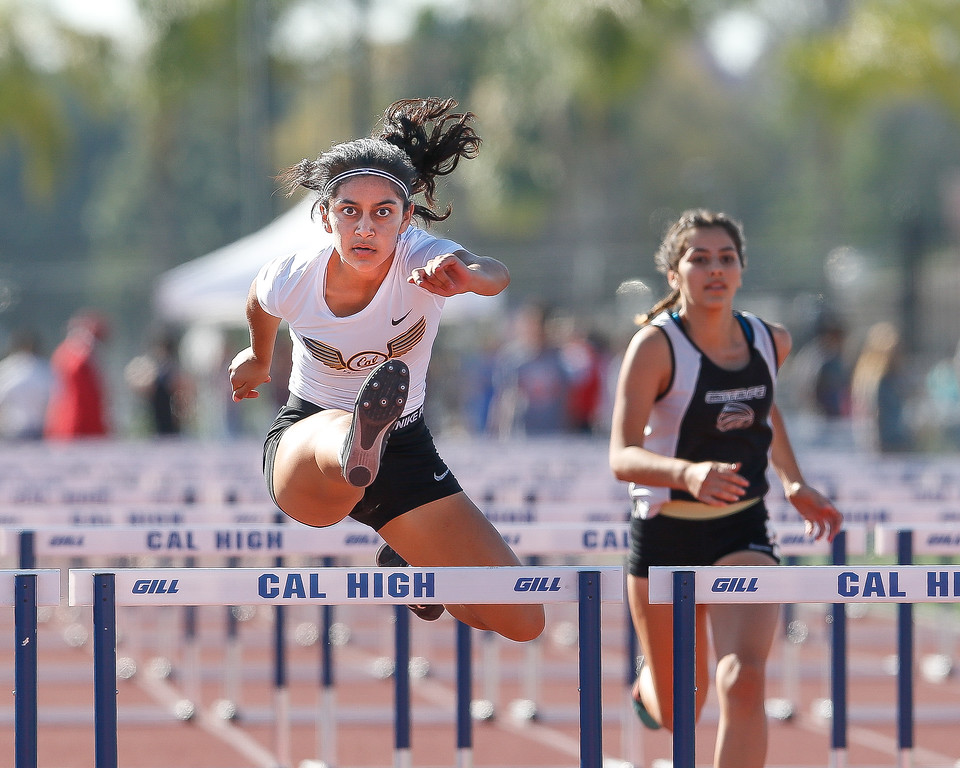 . Valerie Martinez of Cal High maintains her concentration in the 110 M high hurdles. Martinez finished in 1st place in the Del Rio League Track Finals Thursday May 4, 2017 at Cal High. (Correspondent photo by Chris Burt/Sports: To purchase these pictures contact the photographer directly clburt@verizon.net )