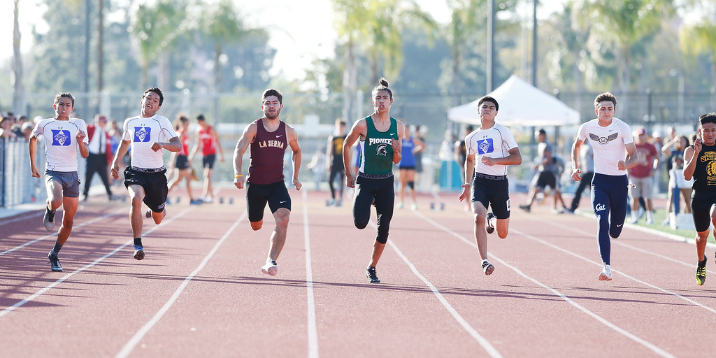 . Angel Franco of Pioneer in the center would win the 100M final in Del Rio League Track Finals Thursday May 4, 2017 at Cal High. (Correspondent photo by Chris Burt/Sports: To purchase these pictures contact the photographer directly clburt@verizon.net )
