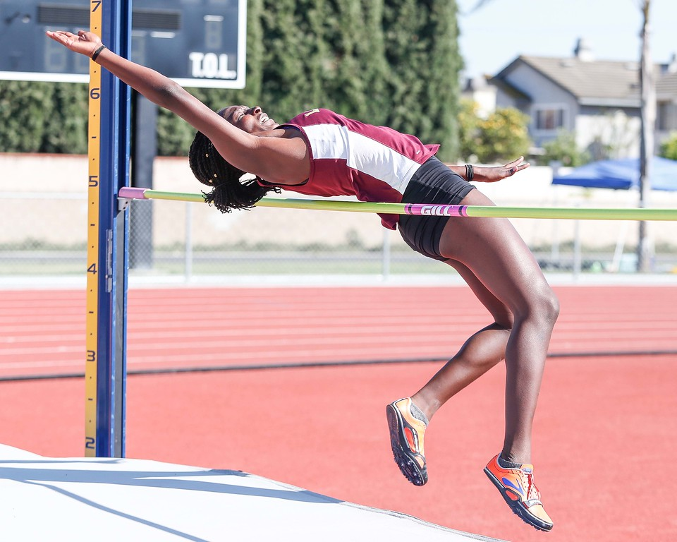 . La Serna�s Melody Early attempts to clear the cross bar in the girls� varsity high jump at the Del Rio League Track Finals Thursday May 4, 2017 at Cal High. Early eventually cleared 4�9� to take first place. (Correspondent photo by Chris Burt/Sports: To purchase these pictures contact the photographer directly clburt@verizon.net )