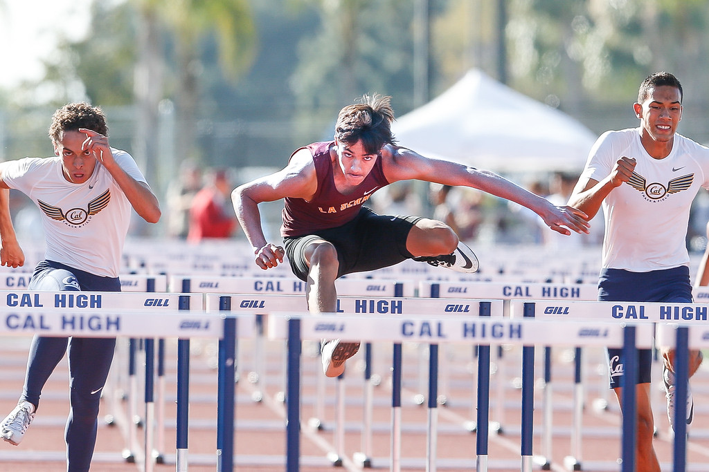 . Aaron Malo of La Serna has his eyes on the perfect season. Malo finished in 1st place in the 110M high hurdles at the Del Rio League Track Finals Thursday May 4, 2017 at Cal High. (Correspondent photo by Chris Burt/Sports: To purchase these pictures contact the photographer directly clburt@verizon.net )