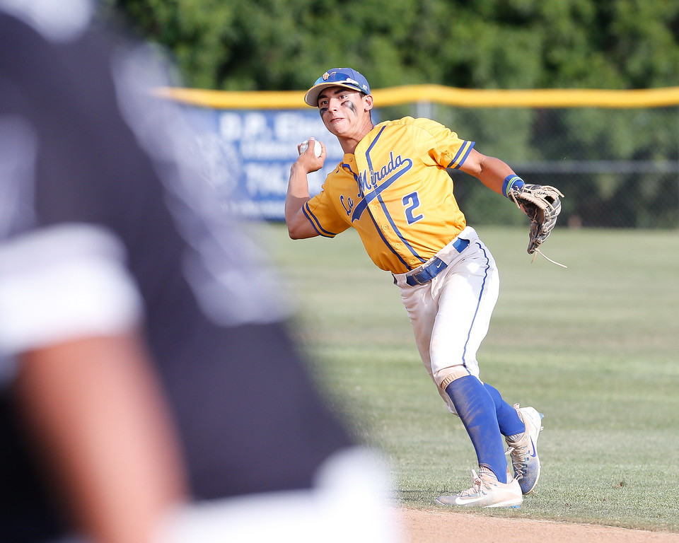 . Suburban League boys varsity baseball action between the La Mirada Matadores and the Mayfair Monsoons, Friday May 5, 2017, at La Mirada High School. Winner of this game will more than like top the league. (Correspondent photo by Chris Burt/Sports: To purchase these pictures contact the photographer directly clburt@verizon.net )
