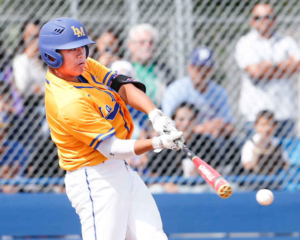 . La Mirada\'s Eugene Jeon makes contact in Suburban League battle for first place against the Mayfair Monsoons. The Matadores won the rivalry match up 3-2 Friday, May 5, 2017, at La Mirada High School. Winner of this game will more than likely finish atop the league. (Correspondent photo by Chris Burt/Sports: To purchase these pictures contact the photographer directly clburt@verizon.net )