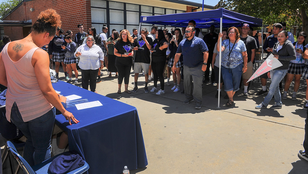 . Student athletes sign their Letters of Intent to play their sport in Universities during a lunchtime ceremony at St. Paul High School in Santa Fe Springs on Friday May 19, 2017. (Photo by Keith Durflinger/Whittier Daily News/SCNG)