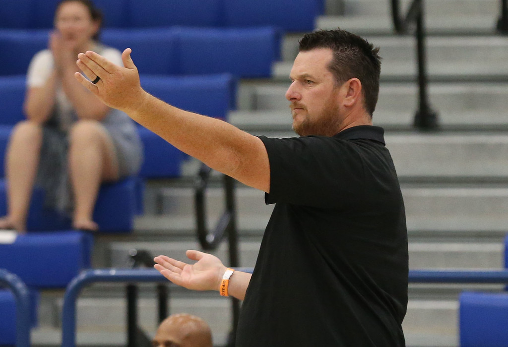 . Calabasas Head Coach Cory Chandler looks to the referee for a call during Saturday\'s CIF-SS Division 2 Boys Volleyball Final between Calabasas and Notre Dame at Cerritos College in Norwalk, CA Saturday, May 20, 2017. (Photo by Mark Dustin for the Los Angeles Daily News/SCNG)