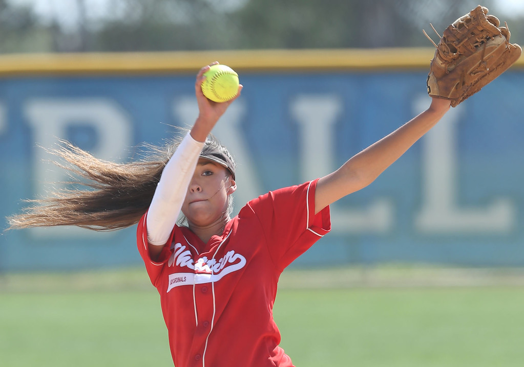 . Whittier\'s Alyssa Olague (32) winds up to deliver a pitch during Tuesday afternoon\'s CIF-SS Division 4 softball second-round playoff game between Beaumont High School and Whittier High School at Beaumont High School in Cherry Valley, CA Tuesday, May 23, 2017. (Photo by Mark Dustin for the Press Enterprise/SCNG)
