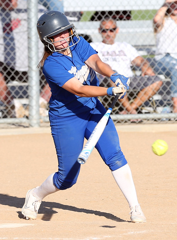 . Beaumont\'s Megan Watkins (27) connects for a hit to drive in the winning run in the bottom of the seventh inning during Tuesday afternoon\'s CIF-SS Division 4 softball second-round playoff game between Beaumont High School and Whittier High School at Beaumont High School in Cherry Valley, CA Tuesday, May 23, 2017. (Photo by Mark Dustin for the Press Enterprise/SCNG)
