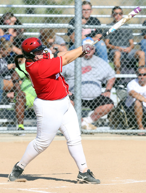 . Whittier\'s Amy Bretado (10) follows through on her swing after hitting a singe during Tuesday afternoon\'s CIF-SS Division 4 softball second-round playoff game between Beaumont High School and Whittier High School at Beaumont High School in Cherry Valley, CA Tuesday, May 23, 2017. (Photo by Mark Dustin for the Press Enterprise/SCNG)