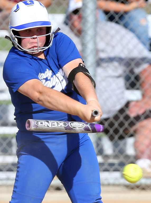 . Beaumont\'s Savannah Flinn (99) breaks her bat after making contact with a pitch during Tuesday afternoon\'s CIF-SS Division 4 softball second-round playoff game between Beaumont High School and Whittier High School at Beaumont High School in Cherry Valley, CA Tuesday, May 23, 2017. (Photo by Mark Dustin for the Press Enterprise/SCNG)