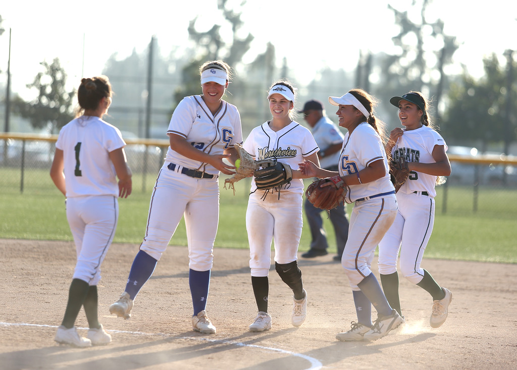 . North team celebrates during the All-Star softball game. High school softball athletes participated in the  San Gabriel Valley All-Star softball game on Sunday, June 4, 2017 at Citrus College. (Photo by Shilah Montiel for SCNG)