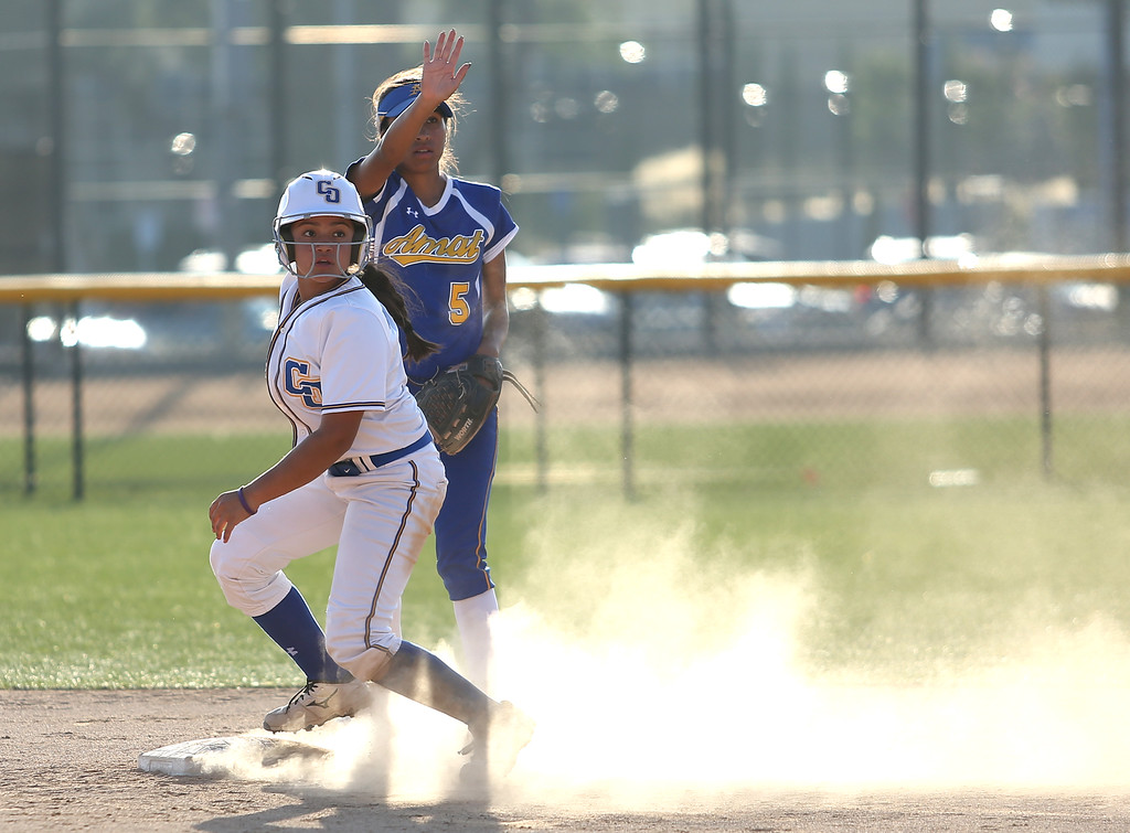 . Charter Oak\'s Lani Rodriguez runs past second base. High school softball athletes participated in the  San Gabriel Valley All-Star softball game on Sunday, June 4, 2017 at Citrus College. (Photo by Shilah Montiel for SCNG)