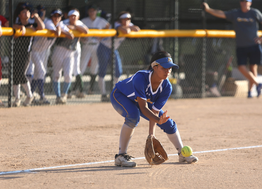 . Bishop Amat\'s Madeline Ramirez catches a ground ball. High school softball athletes participated in the  San Gabriel Valley All-Star softball game on Sunday, June 4, 2017 at Citrus College. (Photo by Shilah Montiel for SCNG)