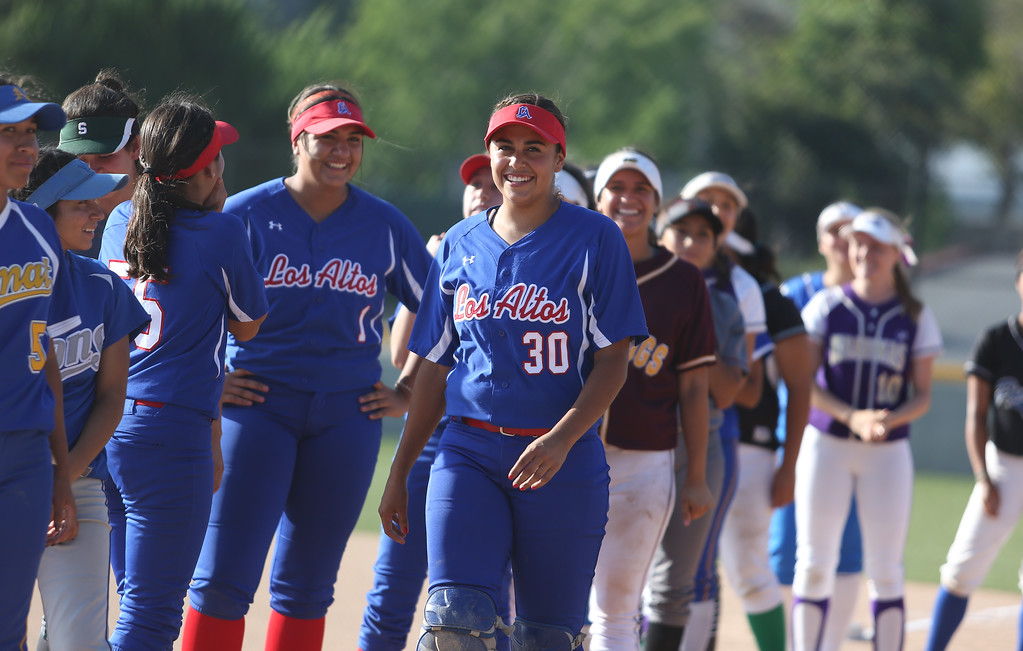 . Los Altos catcher Andrea Wood is nominated to sing the National Anthem prior to the All-Star softball game. High school softball athletes participated in the  San Gabriel Valley All-Star softball game on Sunday, June 4, 2017 at Citrus College. (Photo by Shilah Montiel for SCNG)