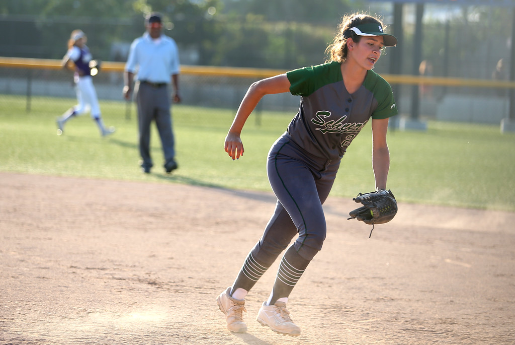 . Schurr\'s Aniz Roman runs back to first base. High school softball athletes participated in the  San Gabriel Valley All-Star softball game on Sunday, June 4, 2017 at Citrus College. (Photo by Shilah Montiel for SCNG)