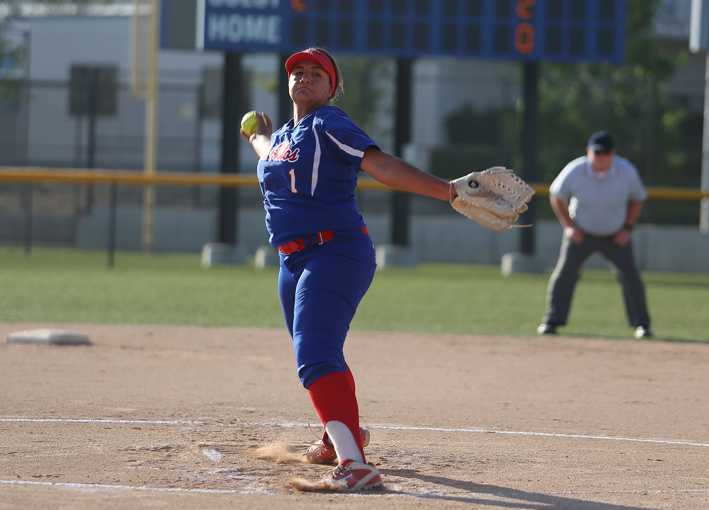 . Los Altos\' Savannah Diederich pitches during the All-Star softball game. High school softball athletes participated in the  San Gabriel Valley All-Star softball game on Sunday, June 4, 2017 at Citrus College. (Photo by Shilah Montiel for SCNG)