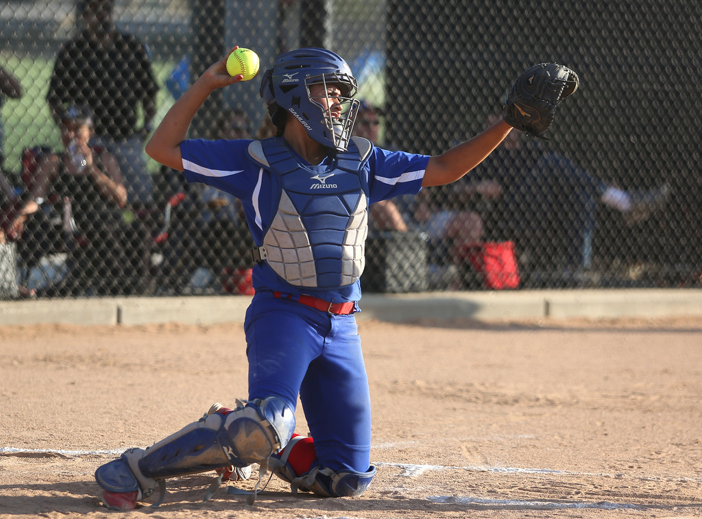 . Los Altos catcher Andrea Wood passes the ball to the pitcher. High school softball athletes participated in the  San Gabriel Valley All-Star softball game on Sunday, June 4, 2017 at Citrus College. (Photo by Shilah Montiel for SCNG)