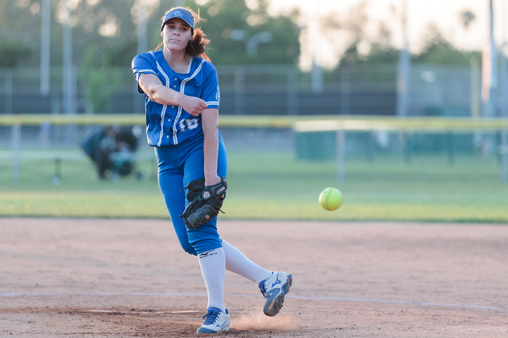 . Public All-Star Team\'s starting pitcher Tori Vradenburg throws to the plate against the Private All-Satr Team in the first inning during the West San Gabriel Valley Prep Softball All-Star Game at the Live Oak Park Community Center in Temple City Calif., on Monday June 5, 2017.  Private All-Star Team won 9-5. (Photo by Raul Romero Jr, SCNG)