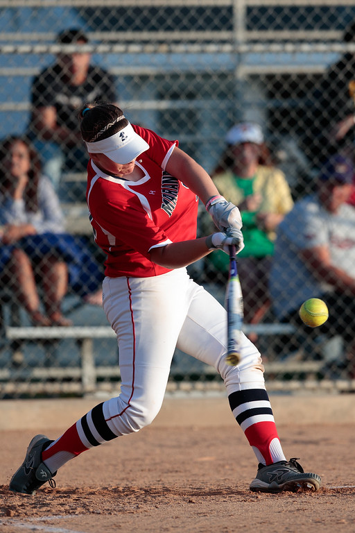 . Private All-Star Team\'s Devyn Netz hits a home run in the home run derby during the West San Gabriel Valley Prep Softball All Star Game at the Live Oak Park Community Center in Temple City Calif., on Monday June 5, 2017.  Private All-Star Team won 9-5. (Photo by Raul Romero Jr, SCNG)