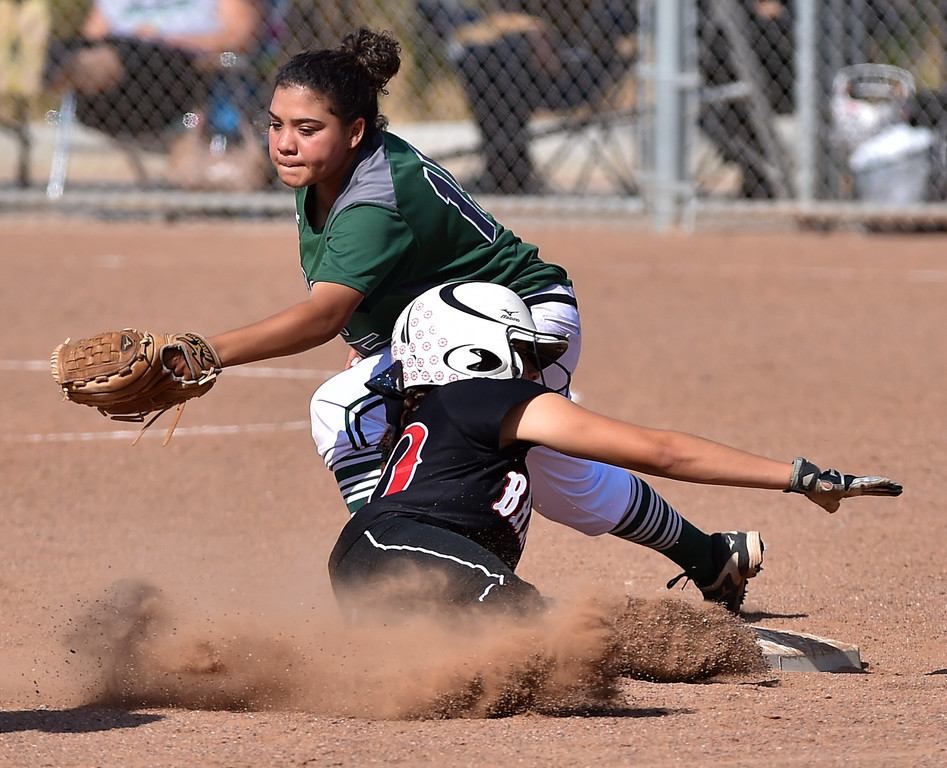 . Banning High defeated POLA 3-1 in Los Angeles City D1 softball semifinal playoff Wednesday May 17, 2017 at Leland Park in San Pedro. Banning\'s Rena Flores steals second base beating tag of Robin Grayson. Photo By  Robert Casillas, Daily Breeze/ SCNG