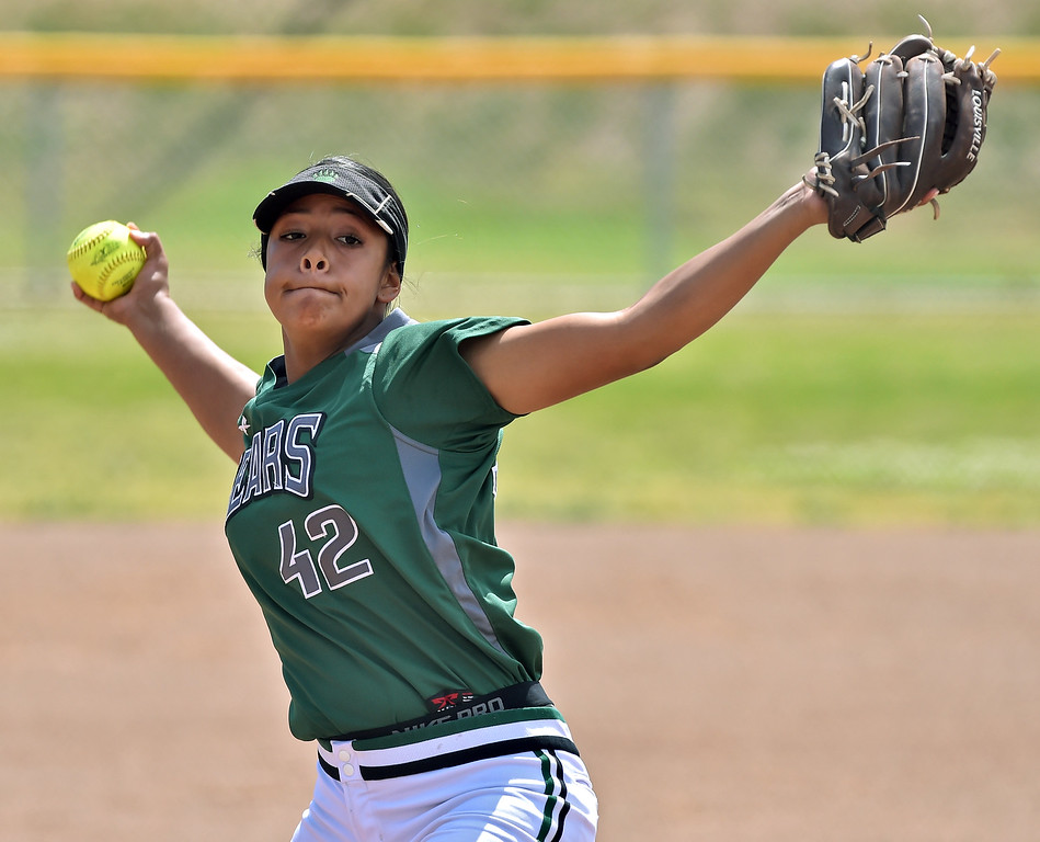 . Banning High defeated POLA 3-1 in Los Angeles City D1 softball semifinal playoff Wednesday May 17, 2017 at Leland Park in San Pedro. POLA pitcher Analise De La Roca ended her illustrious prep career with the loss. Photo By  Robert Casillas, Daily Breeze/ SCNG