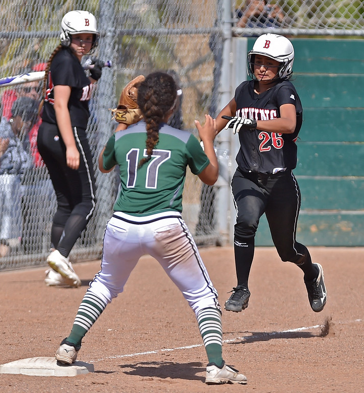 . Banning High defeated POLA 3-1 in Los Angeles City D1 softball semifinal playoff Wednesday May 17, 2017 at Leland Park in San Pedro. Mayfly Martinez hustles to first base.  Photo By  Robert Casillas, Daily Breeze/ SCNG