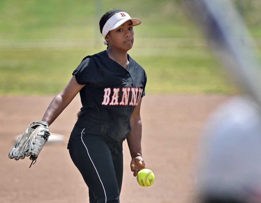 . Banning High defeated POLA 3-1 in Los Angeles City D1 softball semifinal playoff Wednesday May 17, 2017 at Leland Park in San Pedro. Freshman Angelina Devoe tossed a gem allowing only three hits. Photo By  Robert Casillas, Daily Breeze/ SCNG