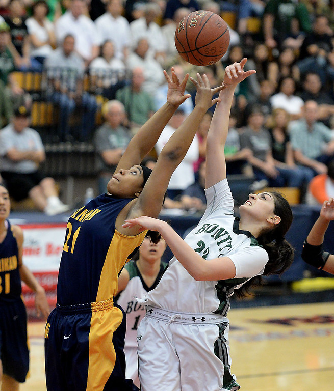 . Millikan\'s Kaylin Ellsi, left, battles Bonita\'s Sam Naanough in the CIF Southern Section Division 1-AA girls basketball final at Azusa Pacific University in Azusa, CA. on Saturday March 8, 2014. (Photo by Sean Hiller/ Daily Breeze).