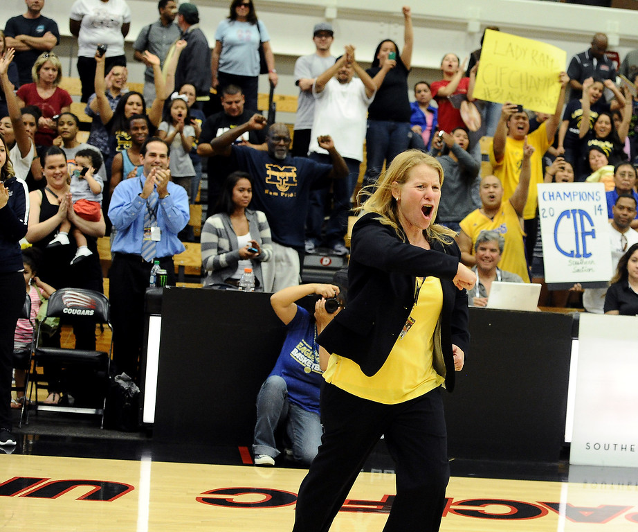 . Millikan\'s Coach Lorene Morgan celebrates after beating Bonita 56-53 in the CIF Southern Section Division 1-AA girls basketball final at Azusa Pacific University in Azusa, CA. on Saturday March 8, 2014. (Photo by Sean Hiller/ Daily Breeze).