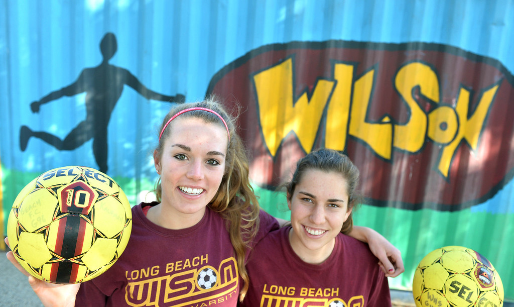 . Wilson girls soccer midfield captains Claire Oates., left, and Sami Reinhardt have played together since they were eight and now they\'re the best midfield duo in CIF,  in Long Beach, CA. on Friday, January 10, 2014. (Photo by Sean Hiller/ Daily Breeze).
