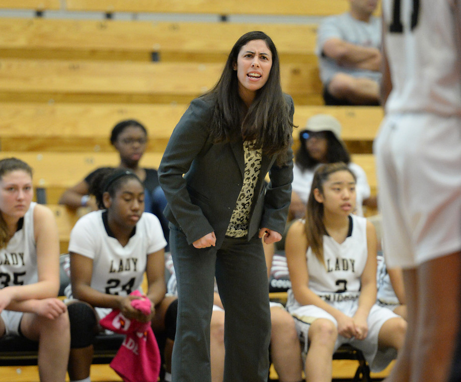 . Bishop Montgomery\'s Coach Bridgette Reyes in the win over JSerra in the CIF Southern Section Division 4-AA girls basketball final at Azusa Pacific University in Azusa, CA. on Saturday March 8, 2014. (Photo by Sean Hiller/ Daily Breeze).