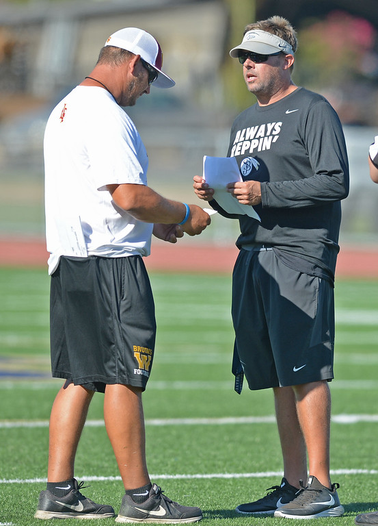 . St. John Bosco vs. Long Beach Wilson  Bosco\'s coach Jason Negro and Wilson\'s coach Mark Ziegenhagen confer between quarters during a football scrimmage at St.John Bosco Friday, August 19, 2016, Bellflower, CA.   Photo by Steve McCrank/Staff Photographer